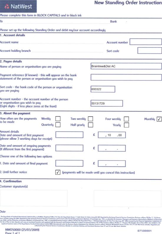 natwest standing order form  Club Membership | Braintree & District Athletic Club